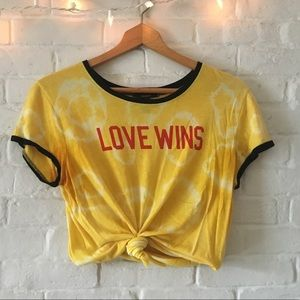 Love Wins Ringer Tee Naturally Tie Dyed